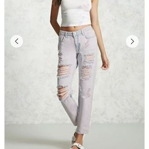 Pink-faded Distressed Jeans